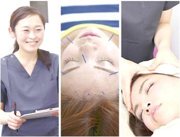 岡山市の美容鍼灸エステ キュア鍼灸サロン施術風景